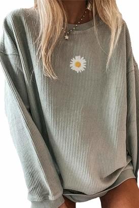 LOSRLY Women's Jumper Daisy Print Long Sleeve Sweatshirt Lightweight Knitted Top Crew Neck Pullover Grey