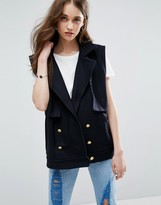 Ganni Taylor Cropped Sleeveless Trench Vest