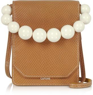 Cafune Caramel Leather Bellows Crossbody Bag