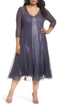 Komarov Plus Size Women's Embellished Lace & Chiffon A-Line Midi Dress