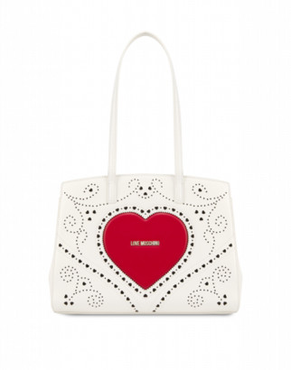 Love Moschino Shopper Heart Embroidery Woman White Size U It - (one Size Us)