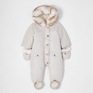 River Island Baby Cream hooded pom snowsuit