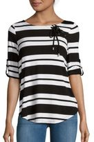 Cable & Gauge Striped Lace-Up Top