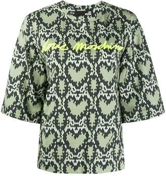 Love Moschino Heart-Pattern 3/4 Sleeve Sweatshirt