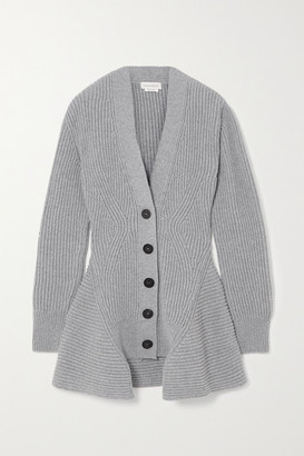 Alexander McQueen Asymmetric Ribbed Wool And Cashmere-blend Cardigan - Gray