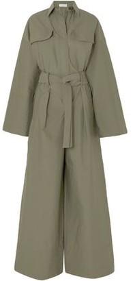 Brunello Cucinelli Belted Bead-embellished Crinkled Cotton-blend Jumpsuit