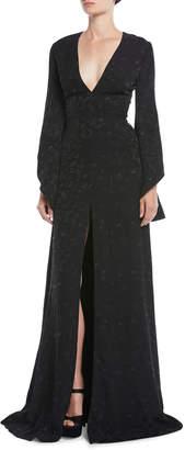 Brandon Maxwell V-Neck Long-Sleeve Pineapple-Jacquard Front-Slit Evening Gown