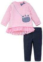 Little Me Baby Girls Two-Piece Bow Accented Top and Leggings Set