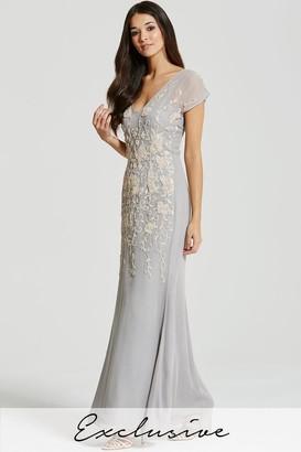 Little Mistress Grey Heavily Embellished Chiffon Maxi Dress