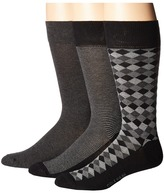 Cole Haan 3-Pack Diamond Stripe Crew Men's Crew Cut Socks Shoes