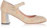 Rochas Metallic Leather-trimmed Brocade Mary Jane Pumps - Peach