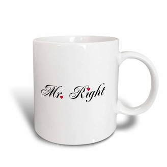 3drose 3dRose Mr Right - part of a Mr and Mrs gift set for romantic couples for anniversary wedding valentines day, Ceramic Mug, 15-ounce