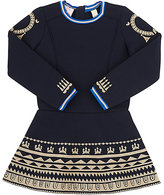 Scotch R'Belle FOLKLORIC-EMBROIDERED NEOPRENE A-LINE DRESS