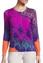 Etro Mandalla Floral Stretch-Silk Knit Cardigan