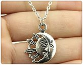 Nobrand No brand vintage antique silver plated 26*20mm moon and sun pendant necklace