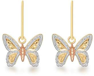Carissima Gold 9ct 3 Colour Gold Butterfly Drop Earrings