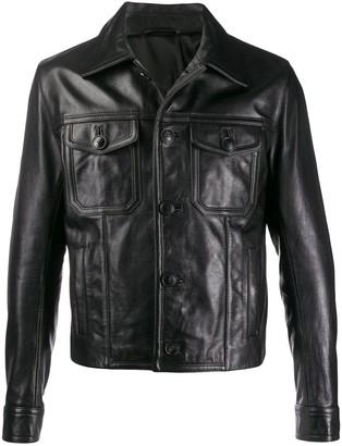 Ami Paris Patch Pockets Leather Jacket