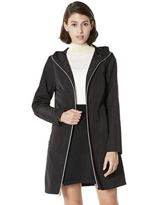 Otterline Women's Poly Memory Hooded Outdoor Mid-Length Trench Coats winderbreak rain Jacket S