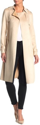 Love Token Faux Suede Trench Coat