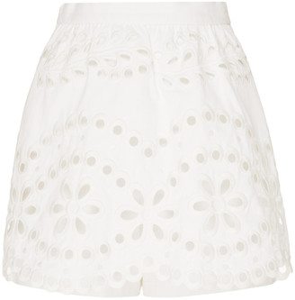 RED Valentino Broderie Anglaise Cotton-Poplin Mini Skirt