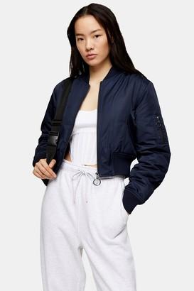 Topshop Womens Navy Bomber Jacket - Navy Blue