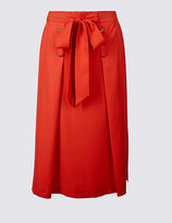 Marks and Spencer Tie Waist Button Detail A-Line Midi Skirt