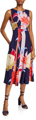 Etro Large Lily-Print Sleeveless Dress