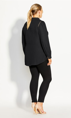 City Chic Kiss Me Quick Shirt - black