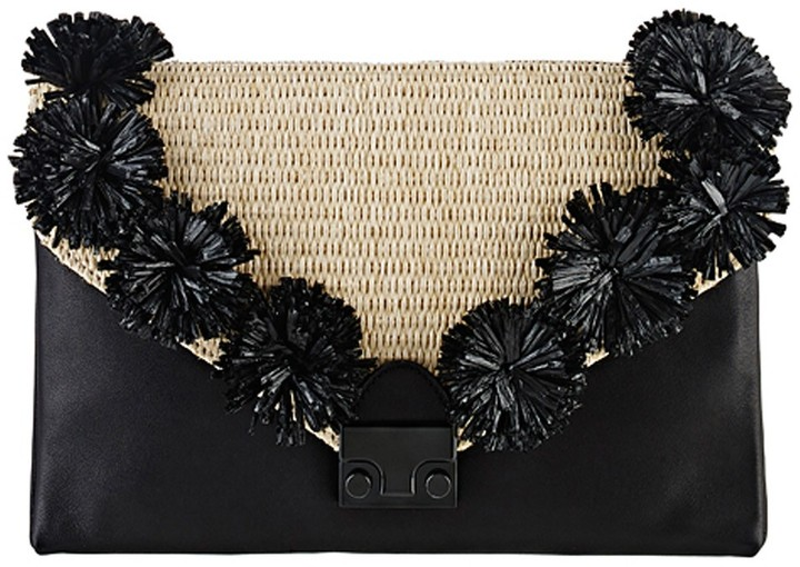 Loeffler Randall Lock Clutch, Natural and Black Raffia