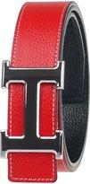 Moraner Golden fame New Designer H Buckle Belt, High Quality Luxury Men's Leather Waist Belts Silver buckle/red 38in