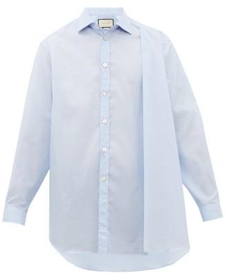 Gucci Asymmetric-drape Pinstripe Cotton-poplin Shirt - Mens - Blue