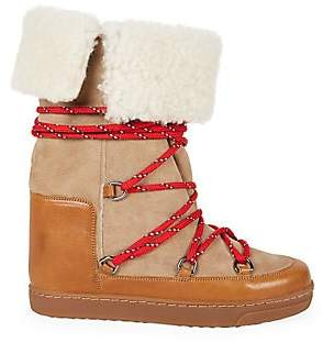 Isabel Marant Women's Nowly Shearling-Lined Suede & Leather Snow Boots