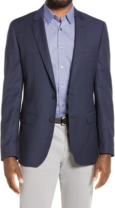 HUGO BOSS Huge Slim Fit Microcheck Wool Blazer