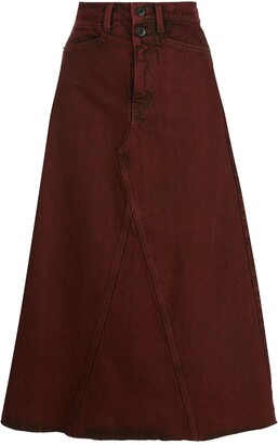 Proenza Schouler White Label High-Rise Midi Denim Skirt