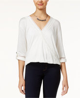 American Rag Lace-Trim High-Low Surplice Top, Only at Macy's