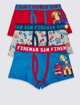 Marks and Spencer 3 Pack Cotton Rich Fireman SamTM Trunks (18 Months - 7 Years)