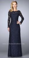 La Femme Beaded Lace Scalloped Bateau Long Sleeve Evening Dress