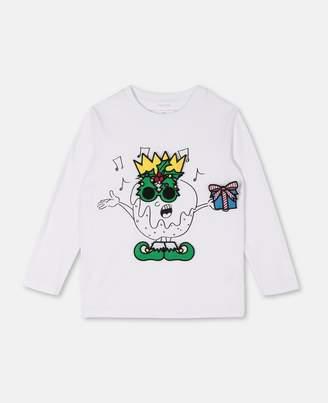 Stella McCartney Kids christmas badges cotton t-shirt