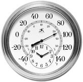 """Infinity Instruments Prague Temperature and Time Outdoor Clock - 16""""D - White/Gray"""