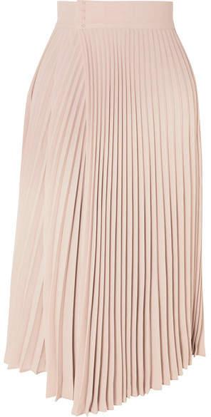 Vince Pleated Wrap-effect Crepe De Chine Midi Skirt - Beige