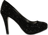 Yours Clothing Black COMFORT INSOLE Embellished Platform Heeled Party Shoe In E Fit