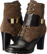 See by Chloe Suede + Flat Leather Lace Up Bootie