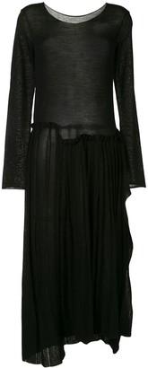 Yohji Yamamoto Asymmetric Pleated Dress