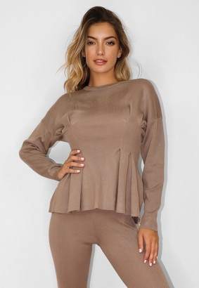 Missguided Mocha Co Ord Ruched Waist Knitted Top