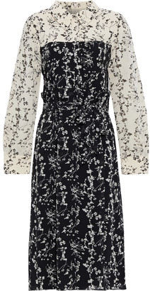 Mikael Aghal Belted Paneled Floral-print Crepe De Chine Shirt Dress