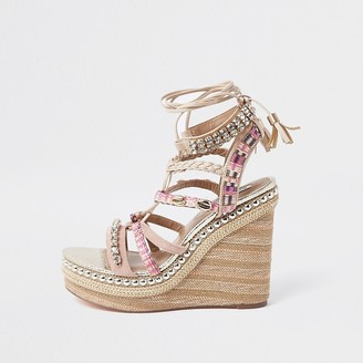 River Island Pink embellished lace-up wedge sandals