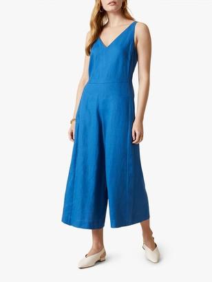 Jigsaw V-Neck Relaxed Fit Linen Jumpsuit, Aegean Blue