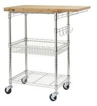 Trinity PRO EcoStorage? Bamboo Kitchen Cart in Chrome - N/A