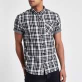 River Island Mens White check double face short sleeve shirt