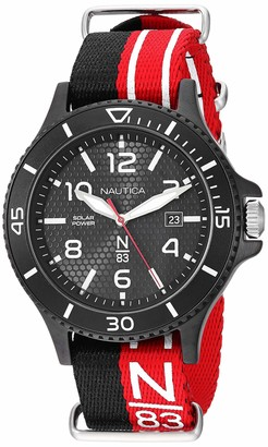 Nautica N83 Men's NAPCBS901 Cocoa Beach Solar Black/Red Fabric Slip-Thru Strap Watch